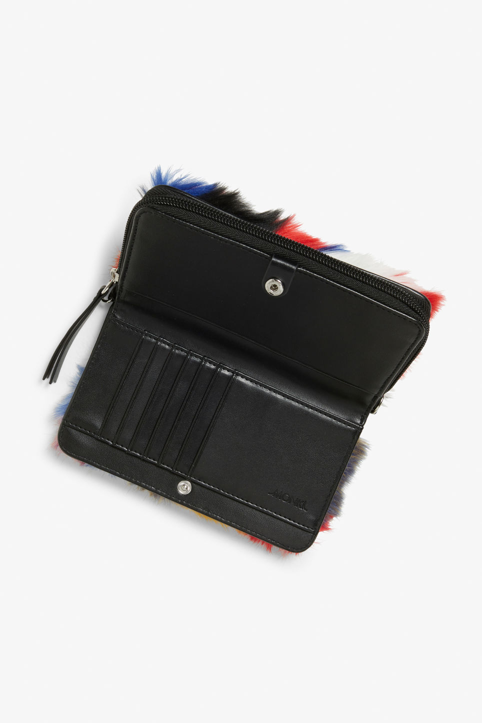 Back image of Monki faux fur wallet bag in black