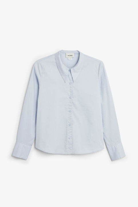 Front image of Monki cotton blouse in blue