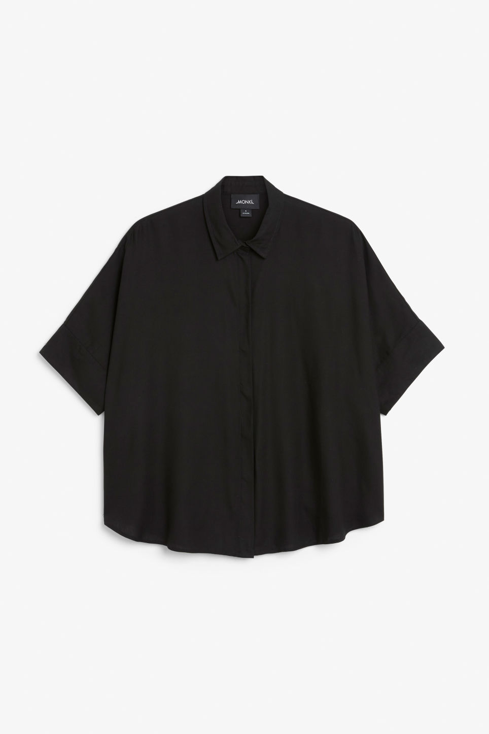 Front image of Monki oversized hidden button blouse in black