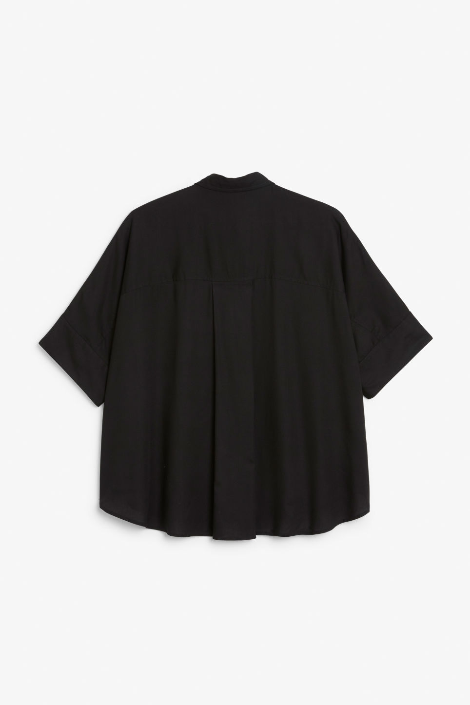 Back image of Monki oversized hidden button blouse in black