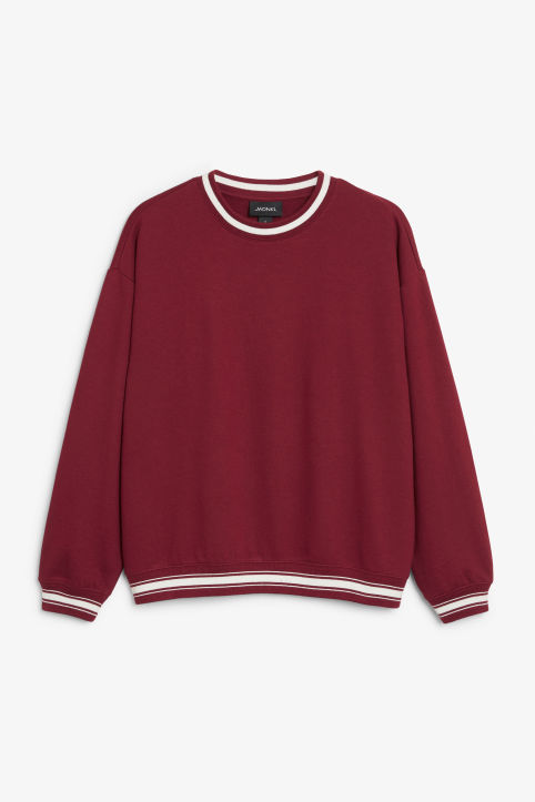 Sweatshirt with tipped cuffs and collar