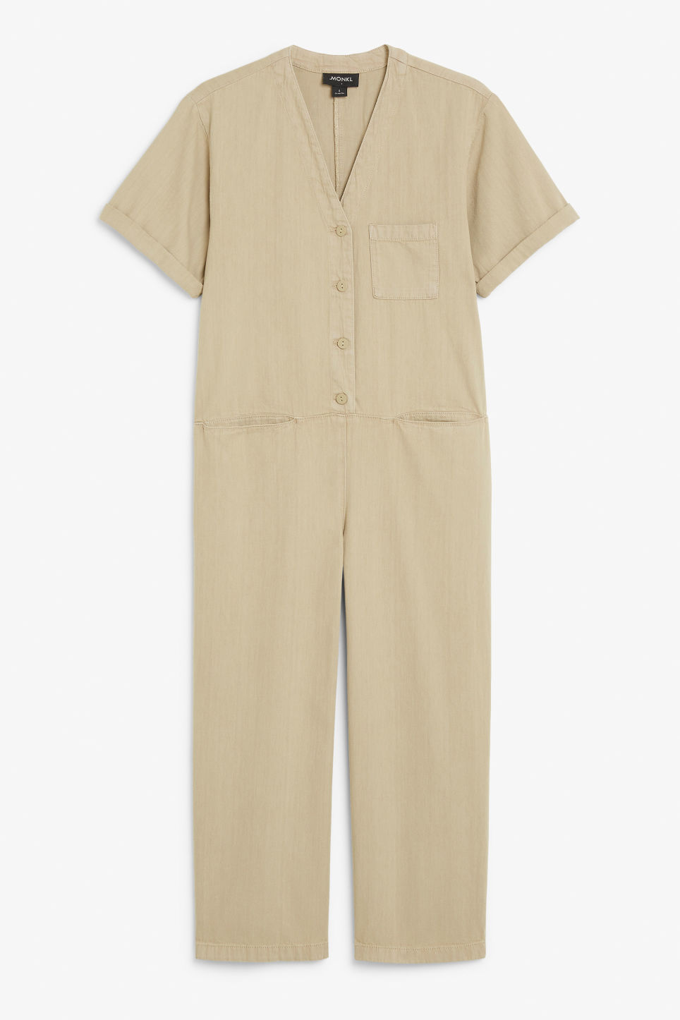 Front image of Monki v-neck denim boilersuit in beige