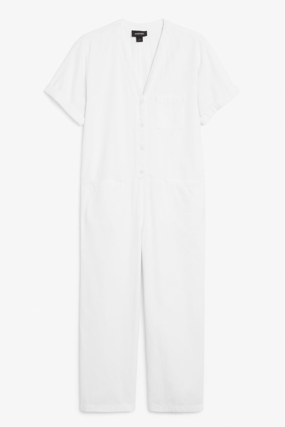 Front image of Monki v-neck denim jumpsuit in white