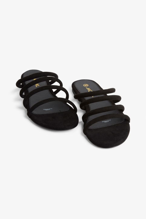 Front image of Monki faux suede slip-in sandals in black