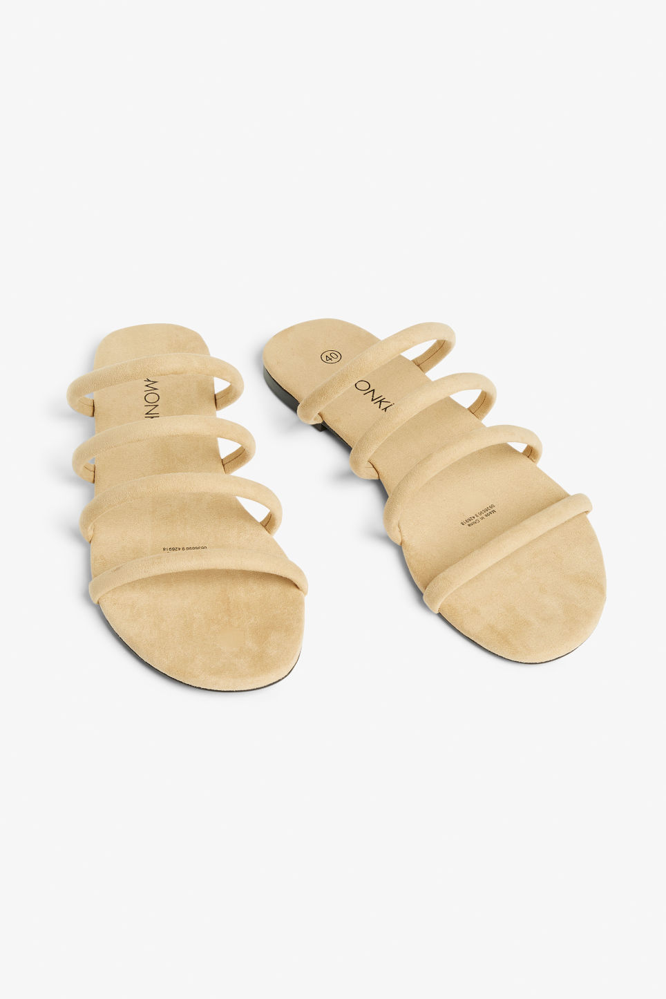 Front image of Monki faux suede slip-on sandals in beige