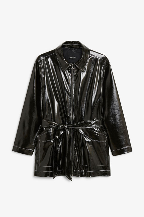 Glossy patent leather jacket