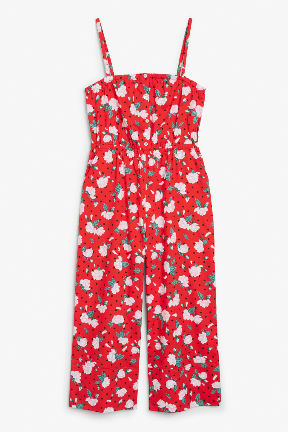 Front image of Monki spaghetti strap jumpsuit in red