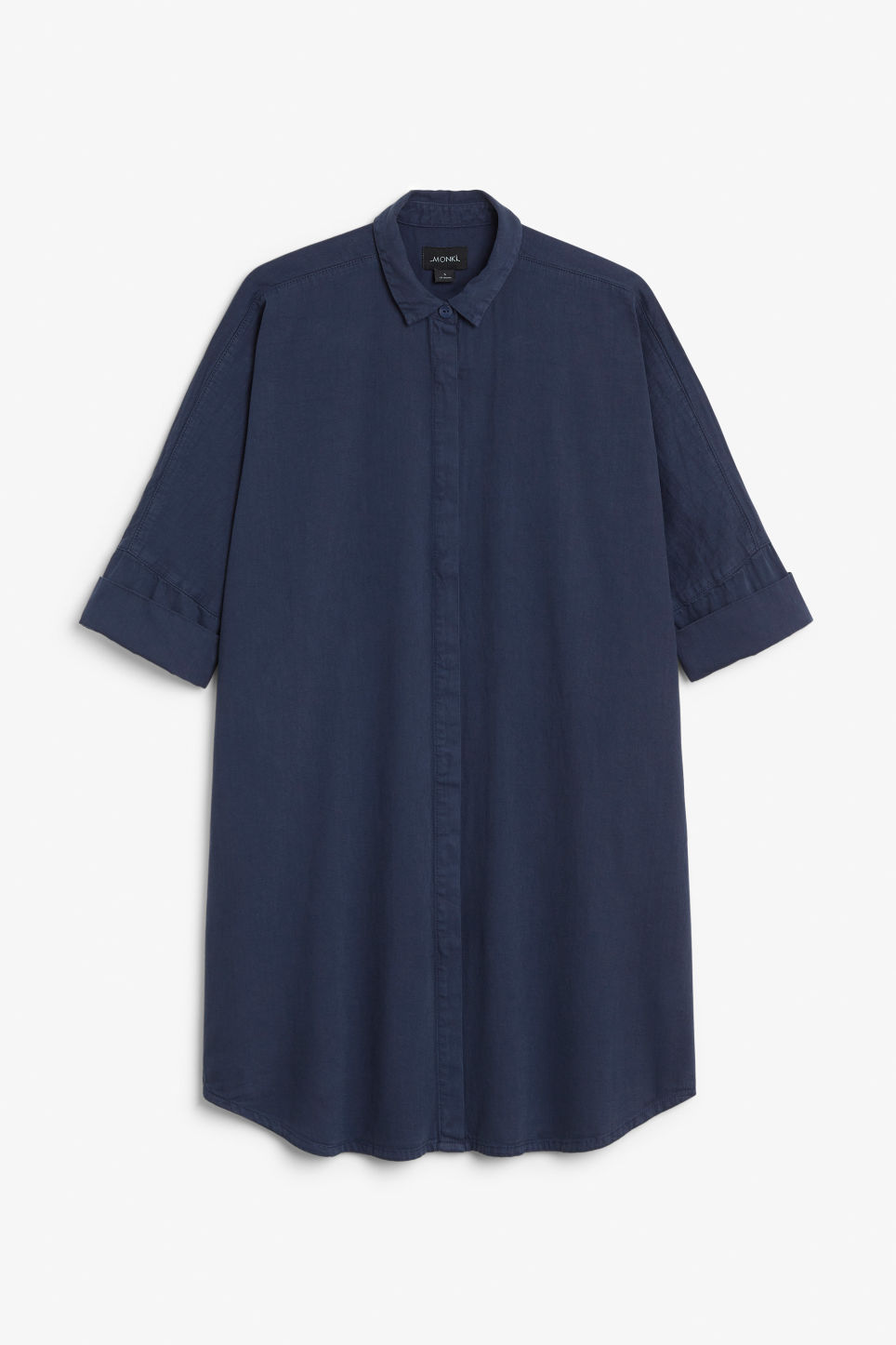 Front image of Monki hidden button shirt dress in blue