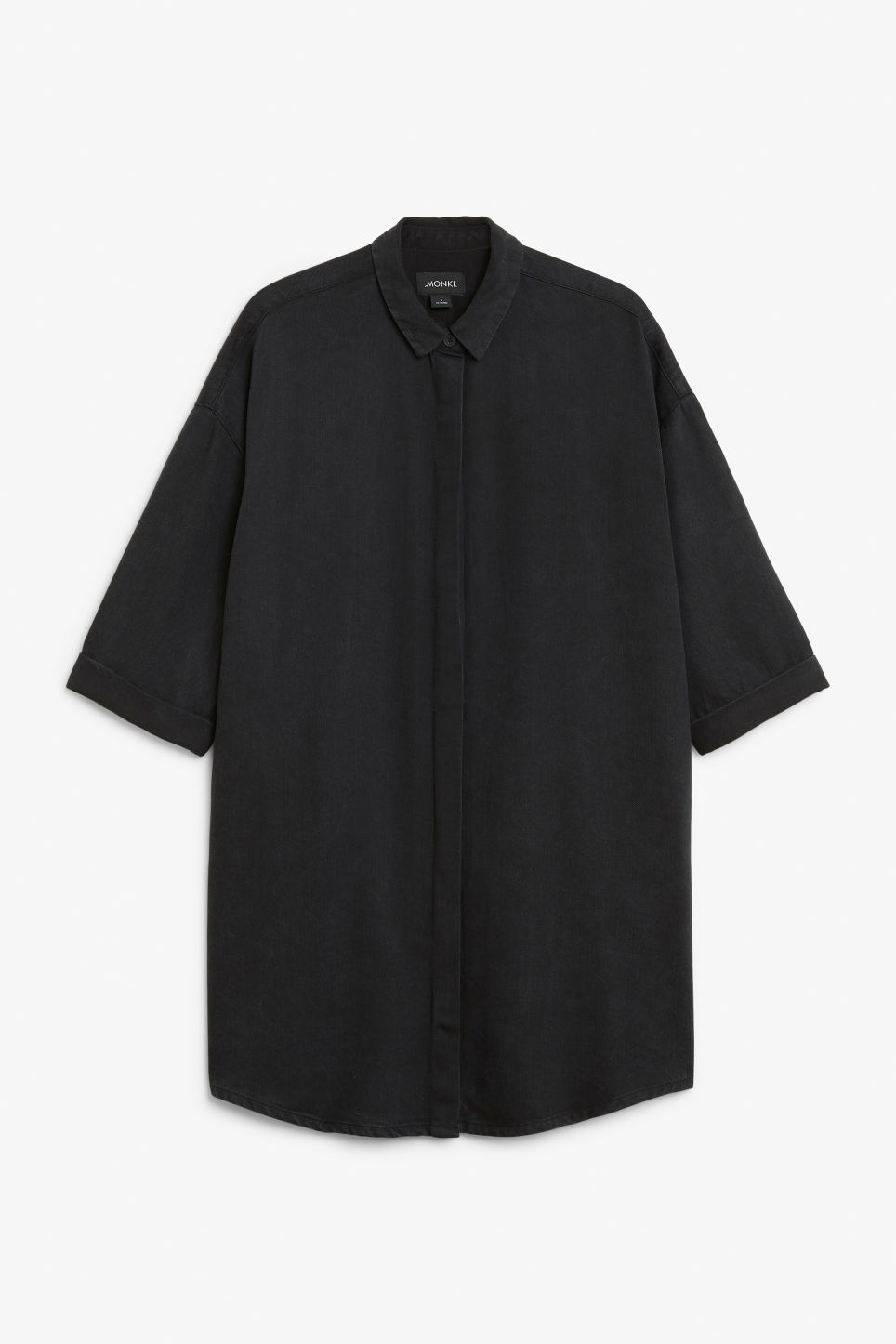 Front image of Monki hidden button shirt dress in black
