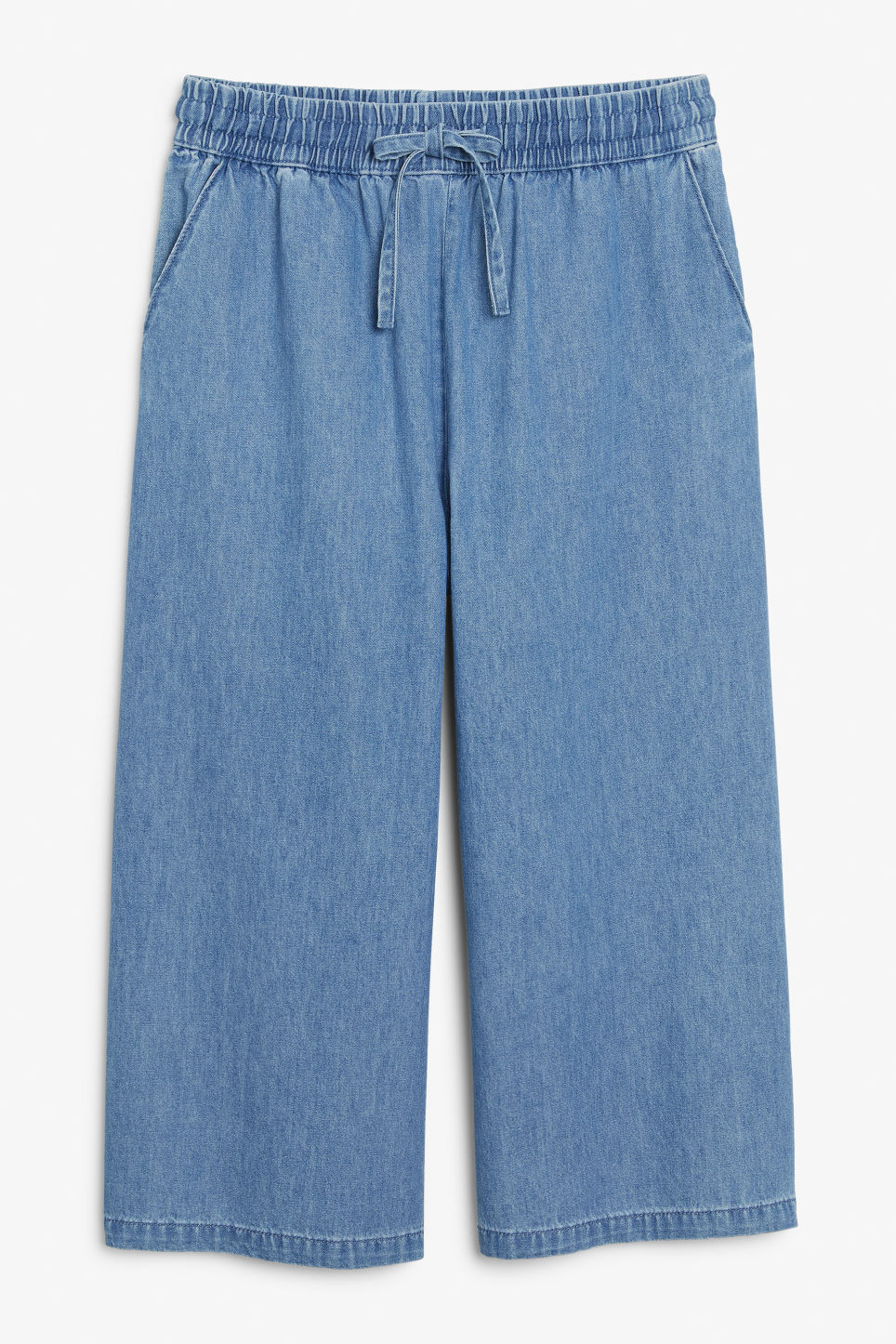 Front image of Monki denim culottes in blue
