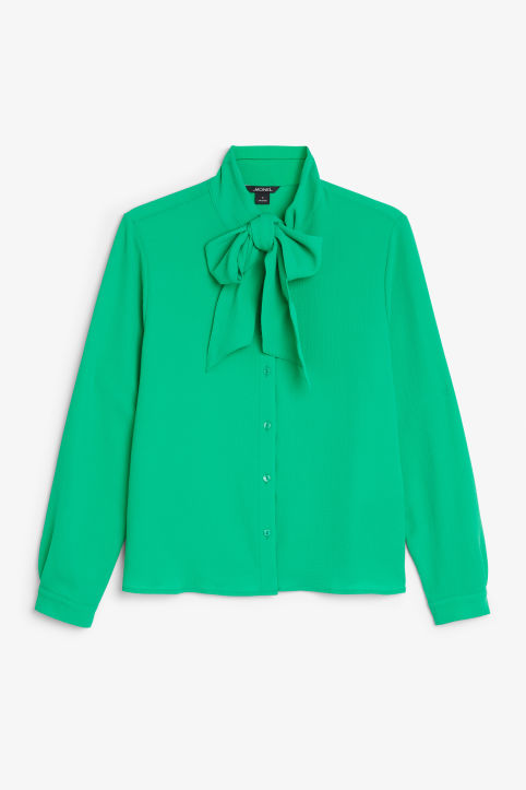 Front image of Monki tie neck blouse in green