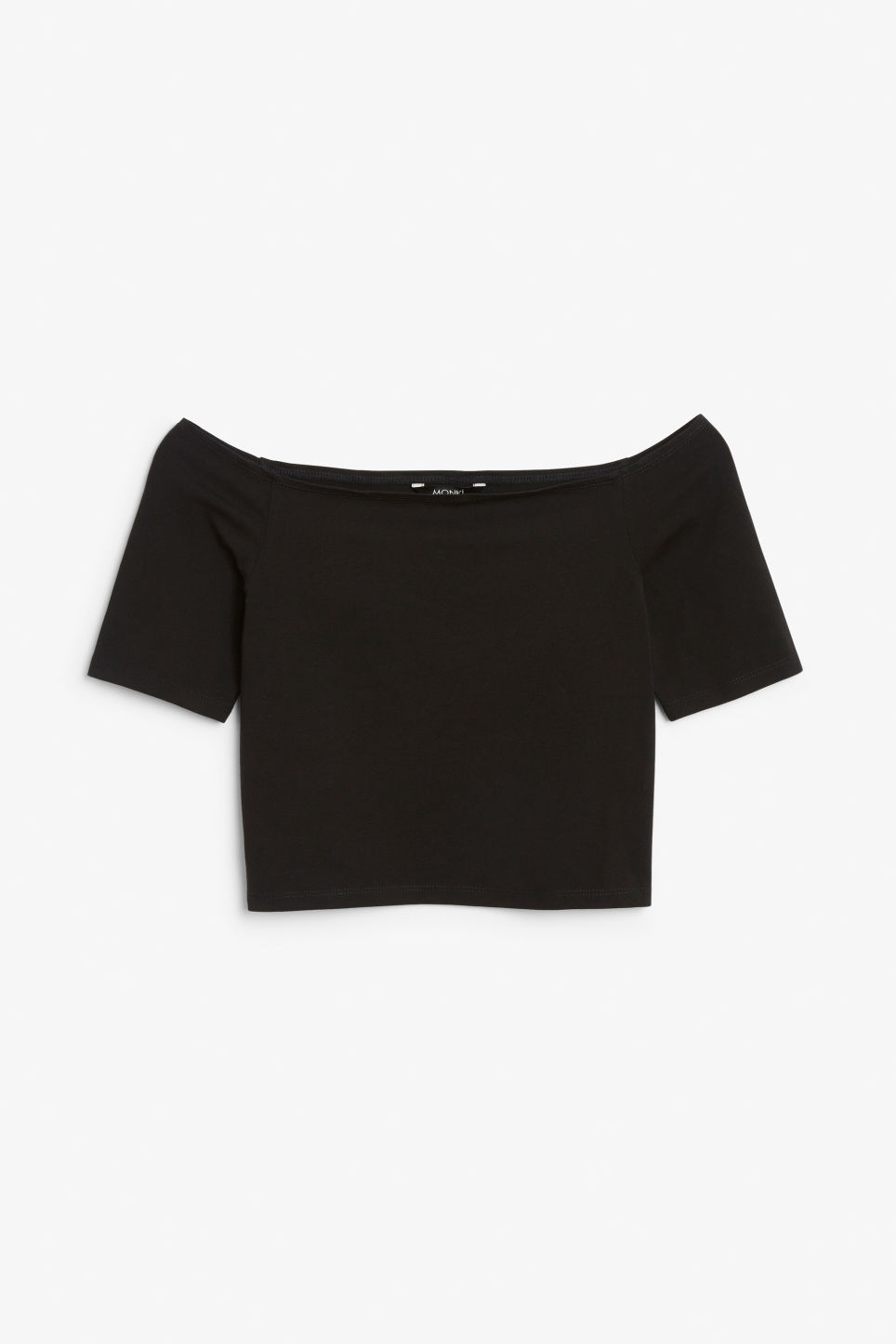 Front image of Monki cold shoulder top in black