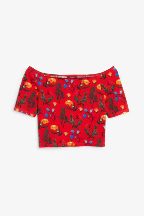 Front image of Monki cold shoulder top in red