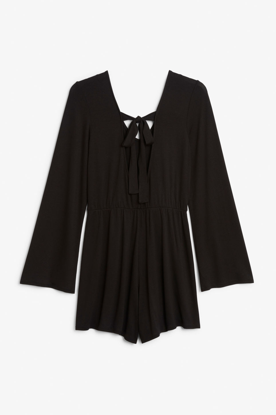 Back image of Monki long-sleeved playsuit in black