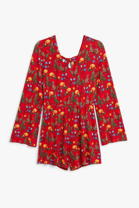 Front image of Monki long-sleeved playsuit in red