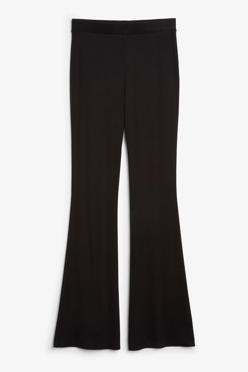 Front image of Monki stretchy trousers in black