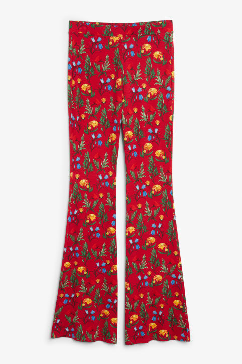 Front image of Monki stretchy trousers in red