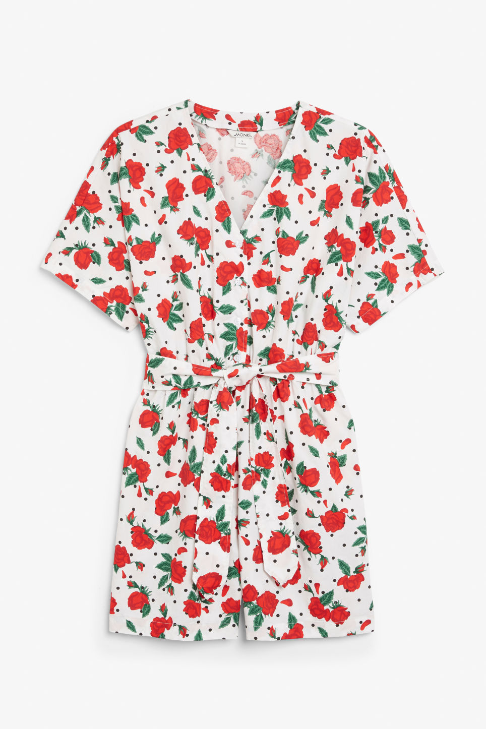 ac148f67c04 V-necked playsuit - Polka dots and roses - Jumpsuits - Monki