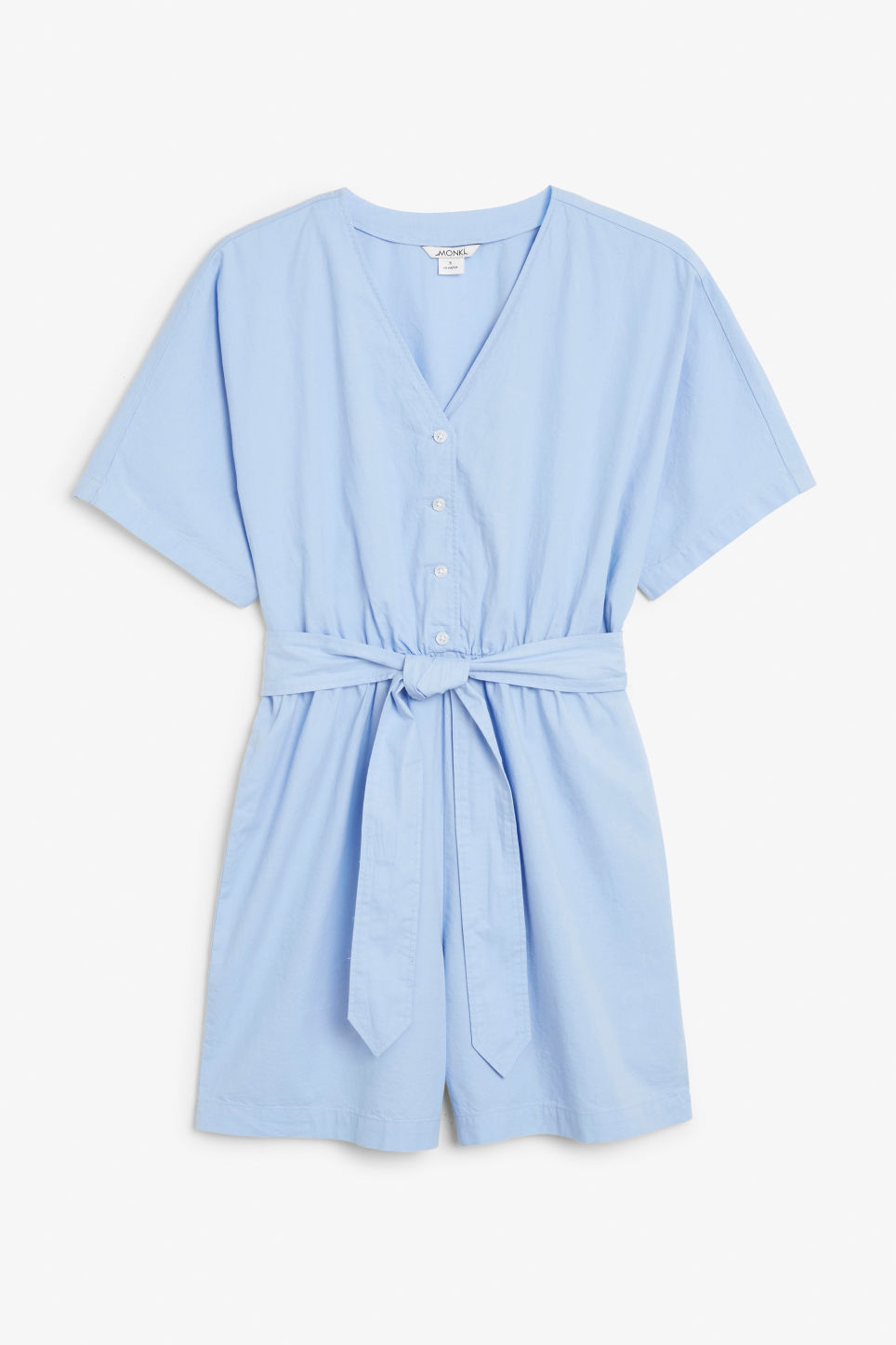 Front image of Monki v-necked playsuit in blue