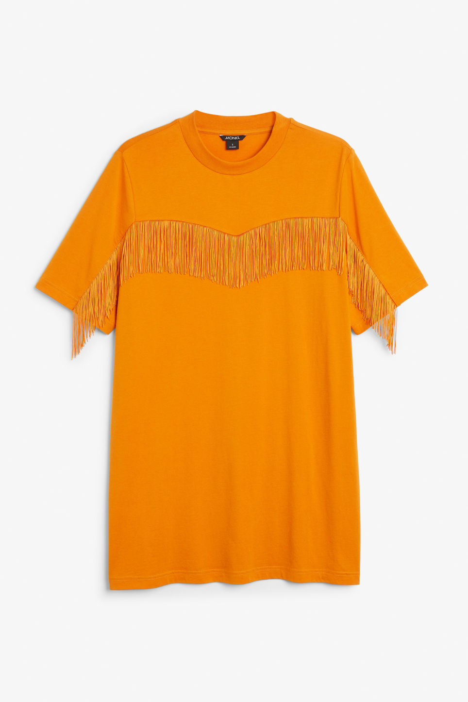 Front image of Monki oversized fringe tee in yellow