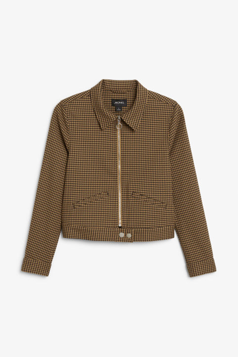 Front image of Monki cropped jacket in beige