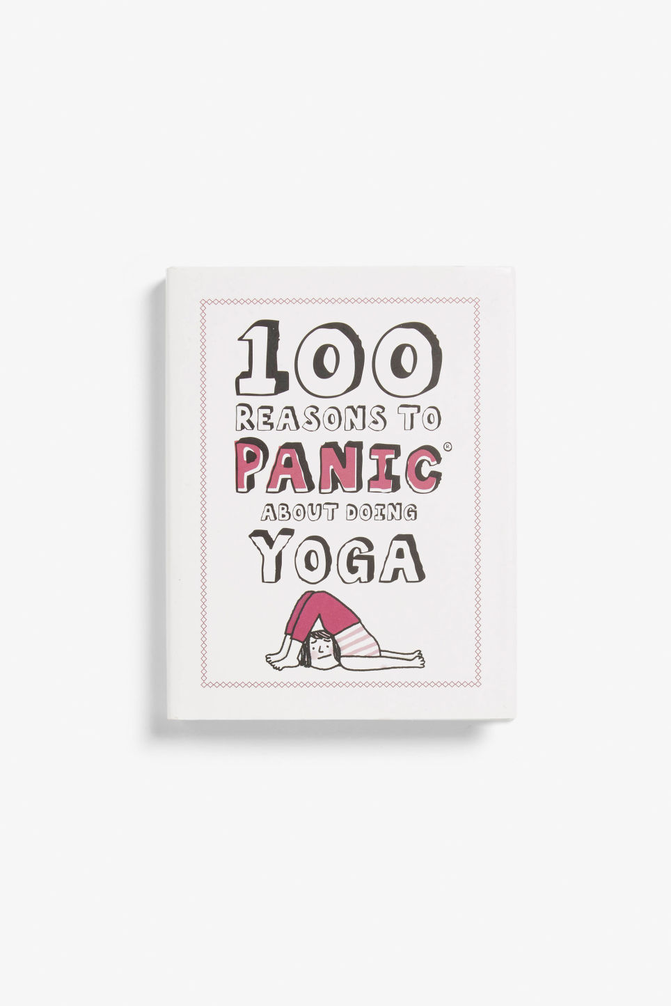 Front image of Monki yoga panic book in white