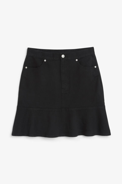 Front image of Monki denim frill skirt in black