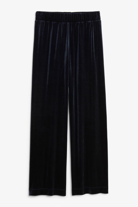 Front image of Monki flowy velvet trousers in blue