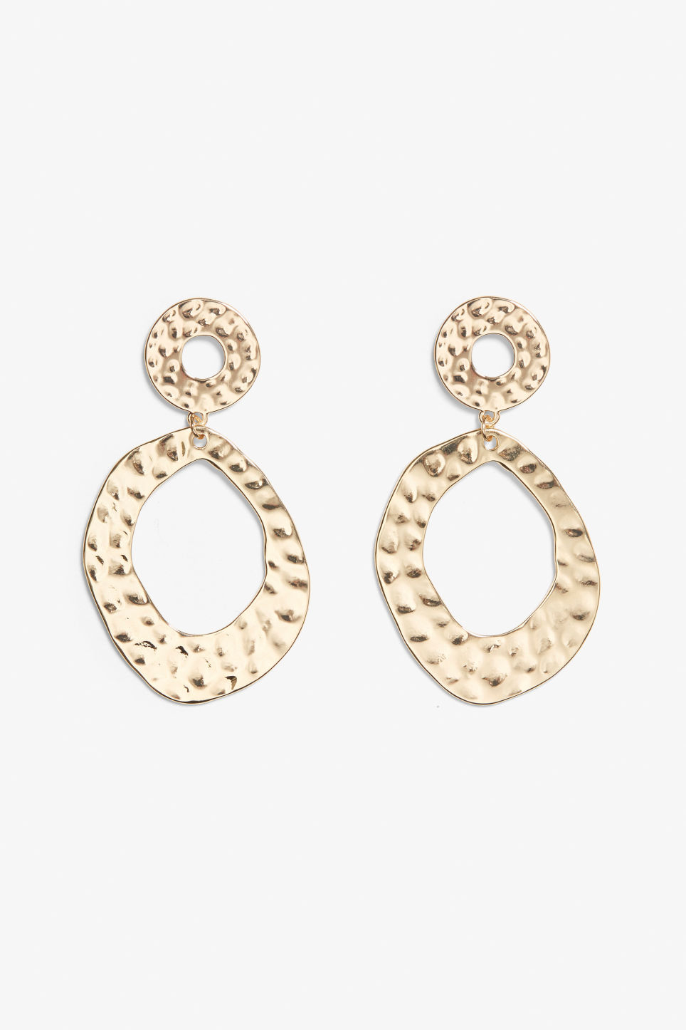 Front image of Monki irregular circle earrings in gold