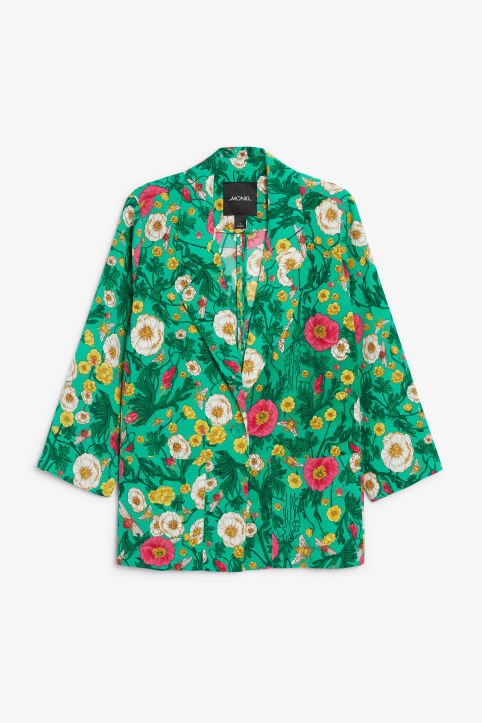 Front image of Monki long blazer in green