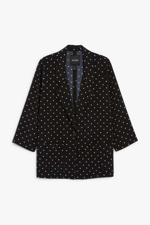 Front image of Monki long blazer in black