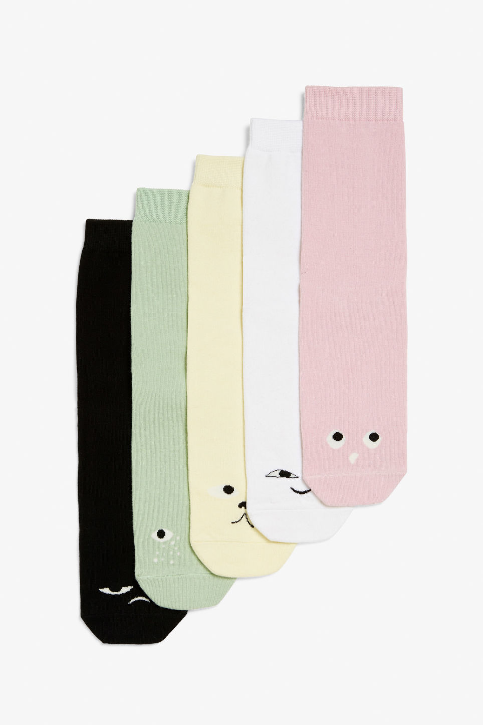 Front image of Monki 5-pack monki socks in pink