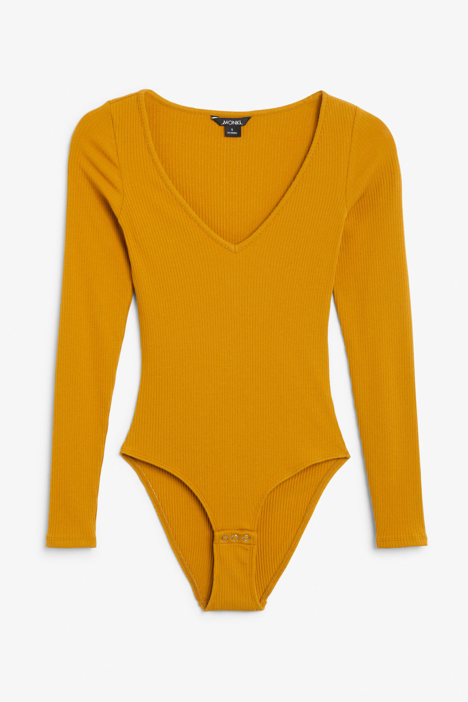 Front image of Monki ribbed long-sleeved body in yellow