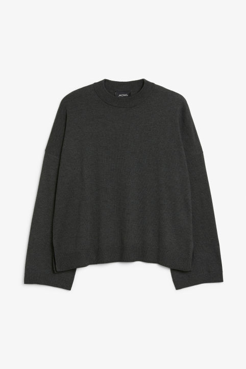Front image of Monki crew neck sweater in black