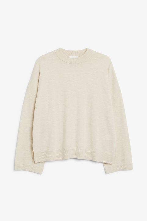 Front image of Monki crew neck sweater in white