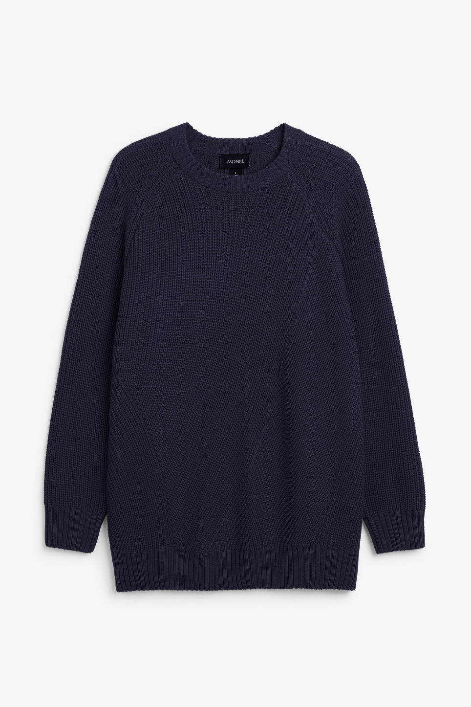 Front image of Monki knitted raglan sweater in blue