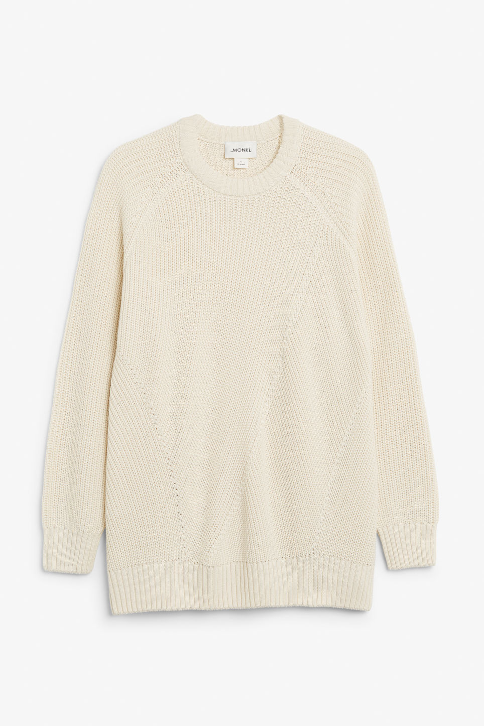 Front image of Monki thick knit sweater in beige
