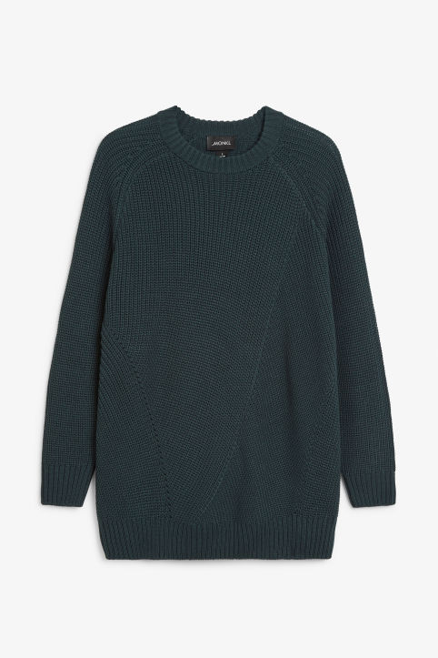 Front image of Monki knitted raglan sweater in green