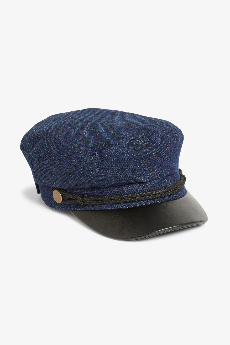 Front image of Monki baker boy hat in blue