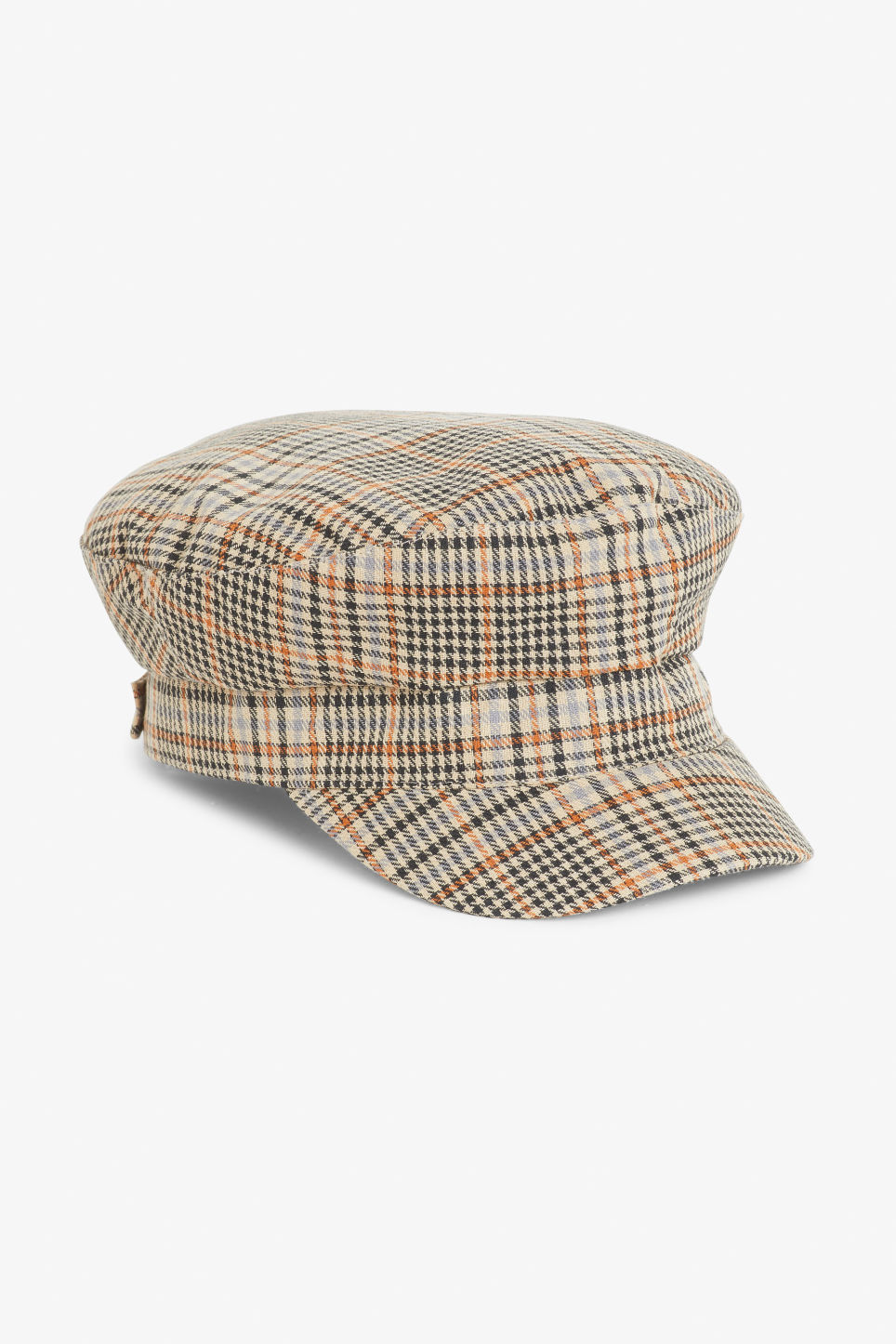 Front image of Monki baker boy hat in brown