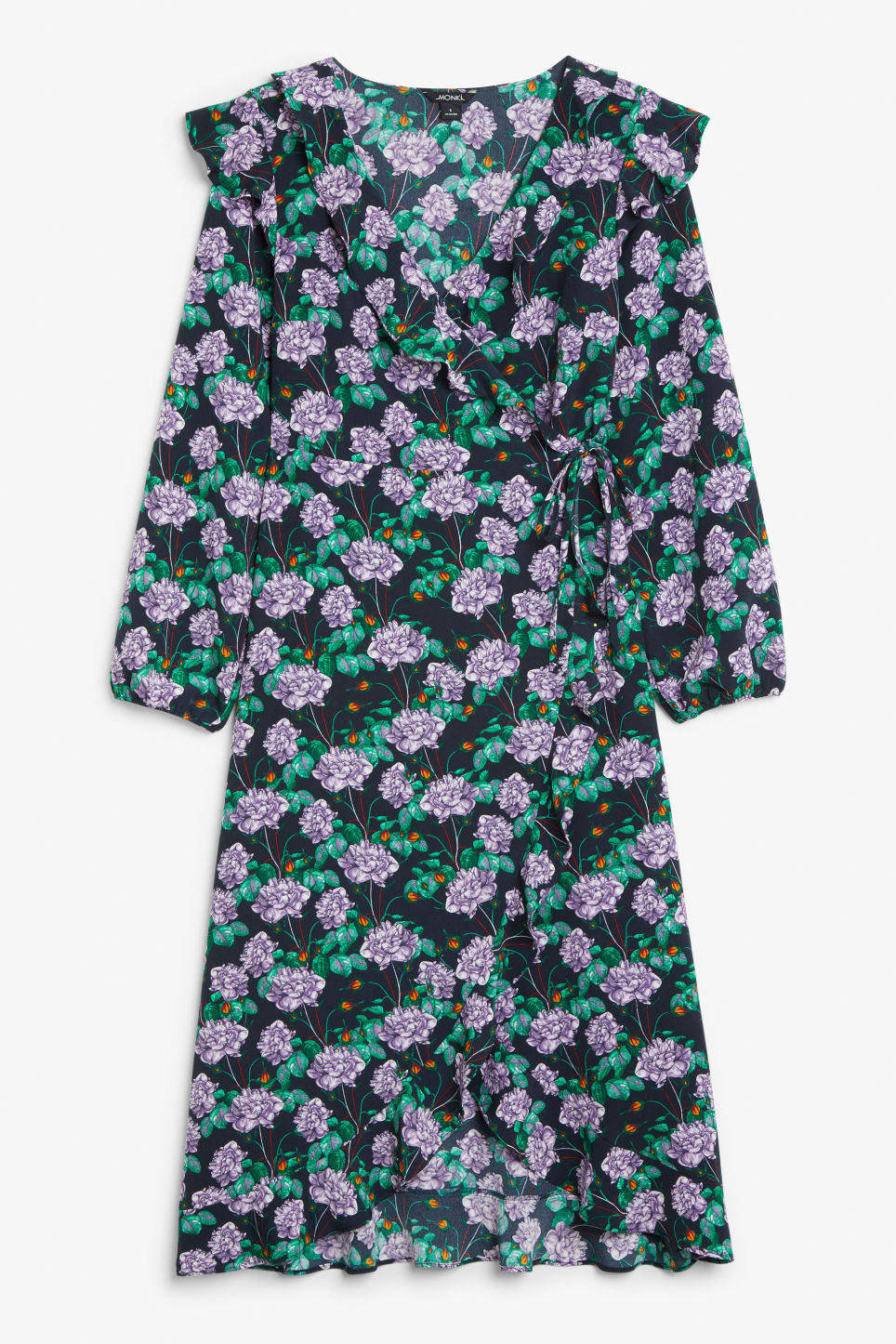 Front image of Monki wrap dress in blue