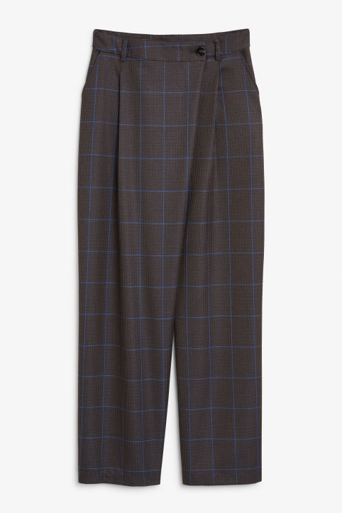 Front image of Monki checked trousers in grey