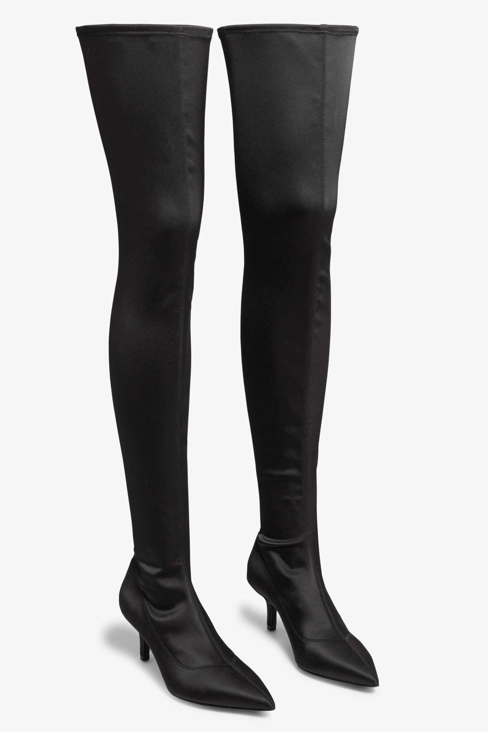 f31e1b82e21 Front image of Monki in black. Front image of Monki stretch over the knee  boots ...