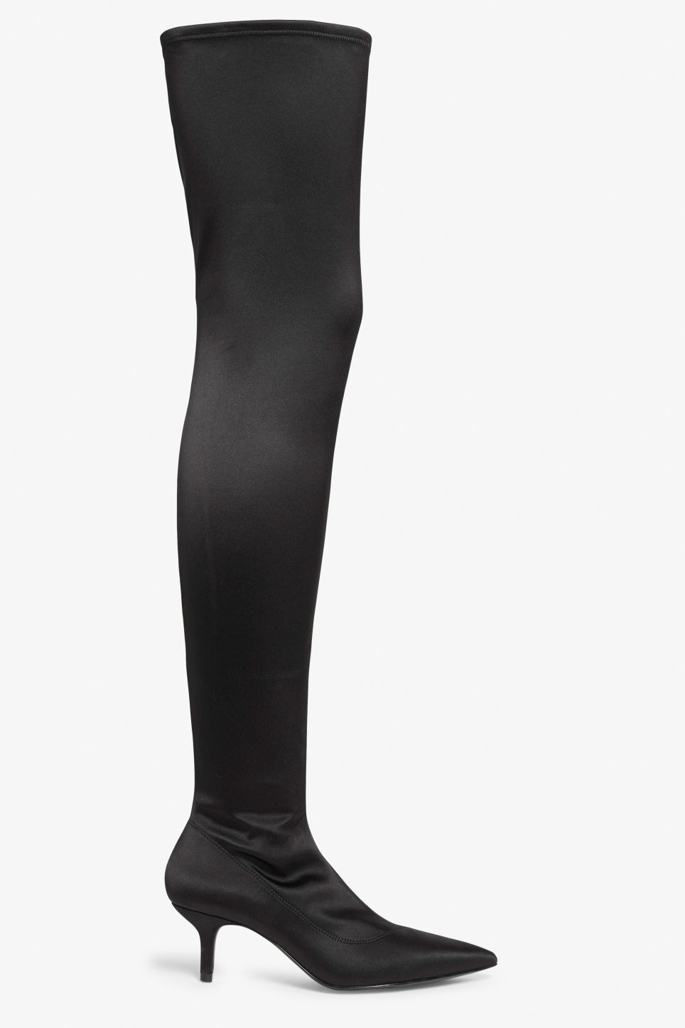 Front image of Monki stretch over the knee boots in black