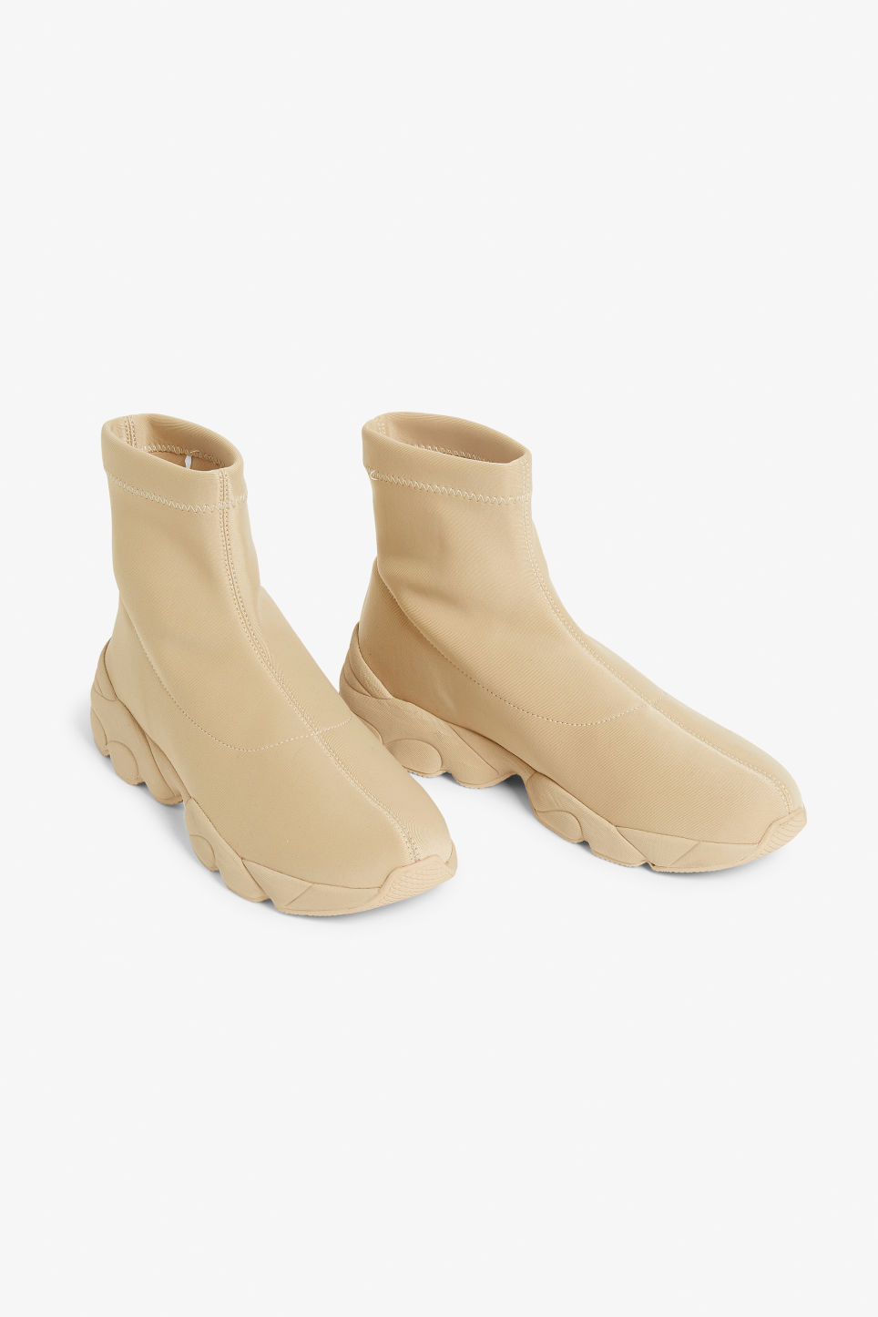 Front image of Monki pull-on scuba sock sneakers in beige
