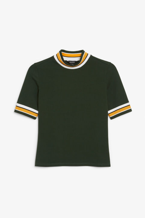 Front image of Monki turtleneck top in green