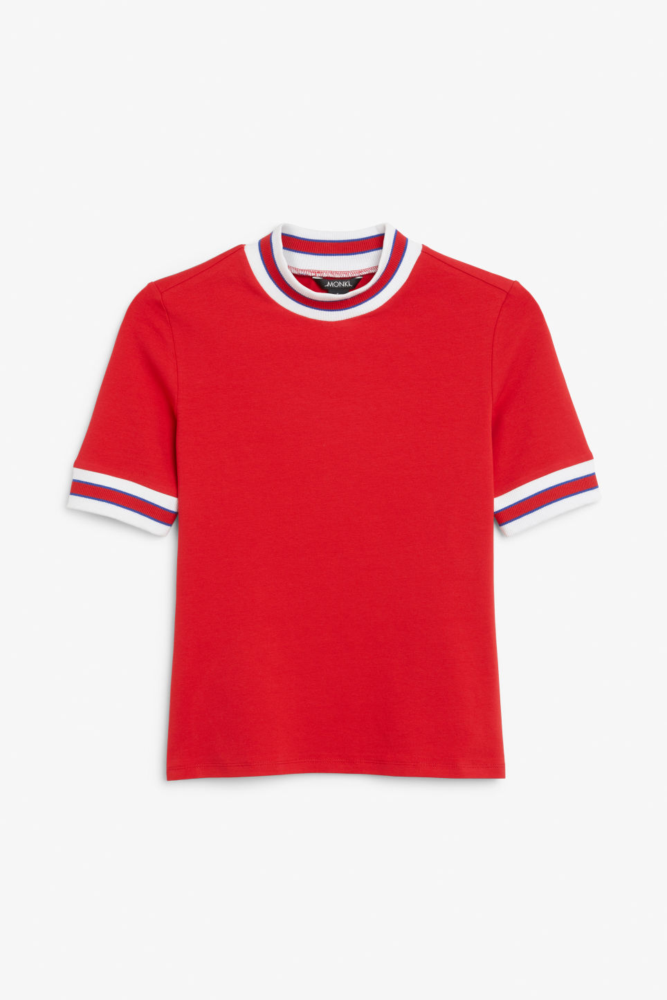 Front image of Monki turtleneck top in red