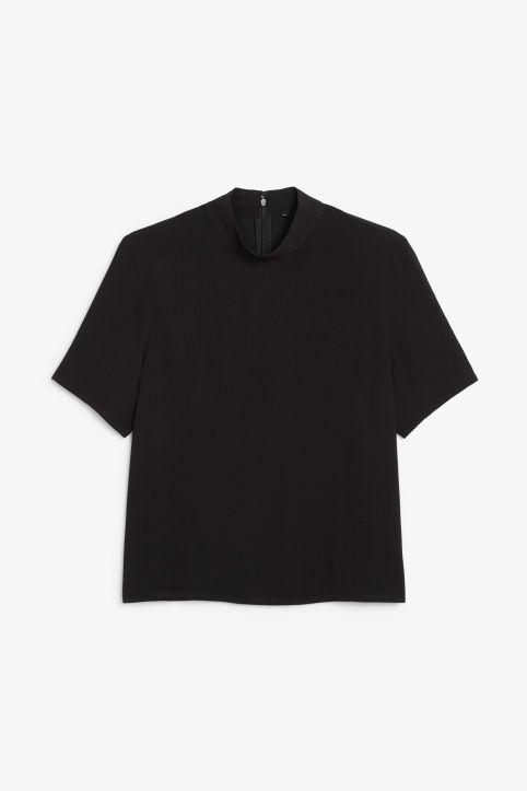 Front image of Monki high collar blouse in black