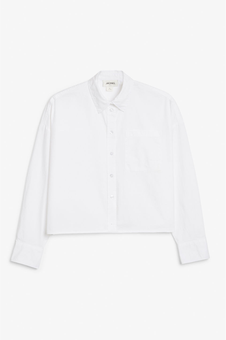 Front image of Monki button-up shirt in white