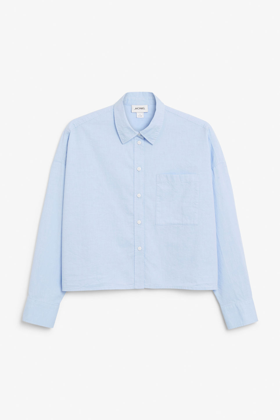 Front image of Monki button-up shirt in blue